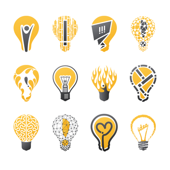 Light bulb idea. Vector logo template set. Collection of design