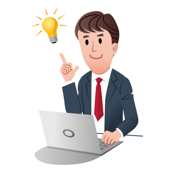Smiling businessman pointing idea light bulb with fingertip